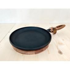 Чугунная блинная сковорода 240х25мм со съемной деревянной ручкой