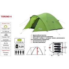 Четырехместная палатка Torino 4 3000 мм