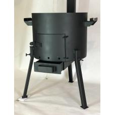 Печь под казан 2 мм 33 см с зольником, дверцей, трубой и регулятором тяги