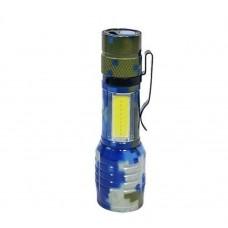 Фонарь ручной светодиодный, zoom, зарядка от microUSB, боковой диод, пластиковый кейс