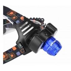 Фонарь налобный светодиодный аккумуляторный с зарядкой от MicroUSB