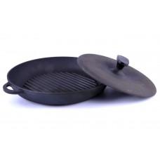 Сковорода гриль чугунная 26 см с прессом Ситон Термо