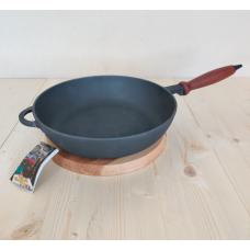 Сковорода сотейник, чугунная с деревянной ручкой 24х6 см
