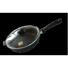 Сковорода 240х60 с бакелитовой ручкой со стеклянной крышкой
