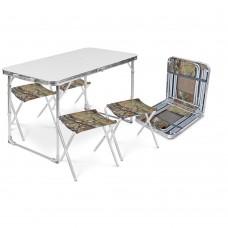 Стол складной + 4 стула дачных складных (ССТ-К2) металлик-хант