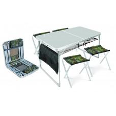 Стол складной + 4 стула дачных складных (ССТ-К3) металлик-хант
